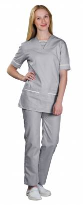 Unisex 534TU V-Neck Scrub Top with Trim