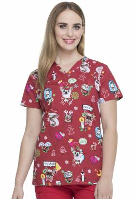 Dickies Prints V-Neck Top - Hello Christmas DK704