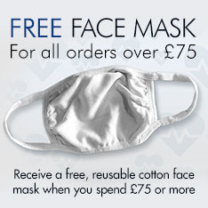 Free Reusable Cotton Face Mask when you spend £75 or more